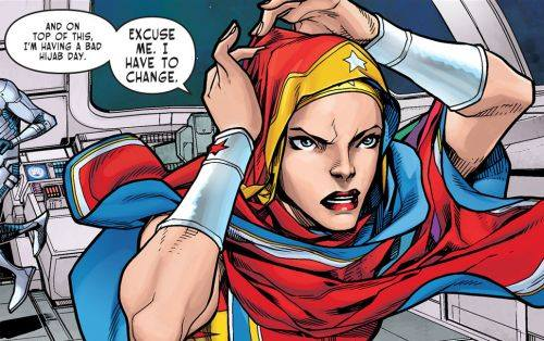 Despite her satin tights, even Wonder Woman has bad hijab days!